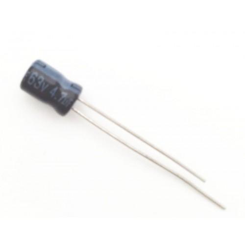 Condensatore Elettrolitico 4,7uF 63V 105°C Radiale 5x8mm AV (2 pezzi)