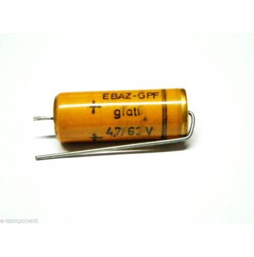 Condensatore Elettrolitico 4,7uF 63V 85°C Assiale 10x26mm marca Rde