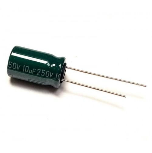 Condensatore Elettrolitico Radiale 10uF 250V 85°C 10x16mm HC