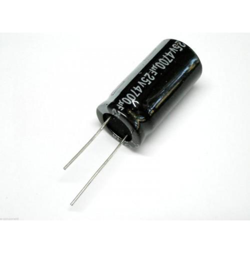 Condensatore Elettrolitico Radiale 4700uF 25V -40/+105°C dimensioni Ø16x30mm