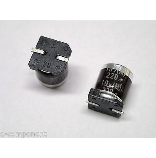 Condensatore Elettrolitico in SMD 220uF 10V 105°C ELNA dimensioni: 8x10mm