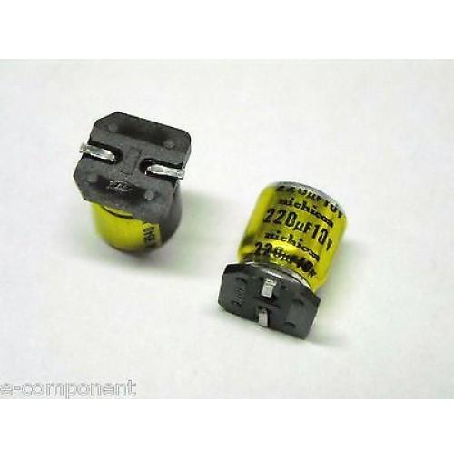 Condensatore Elettrolitico in SMD 220uF 10V 105°C NICHICON dimensioni: 8x10mm
