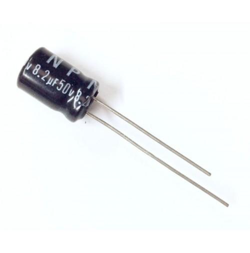 Condensatore Elettrolitico non polazizzato 8,2uF 50V 85°C Radiale 8x12mm Jamicon