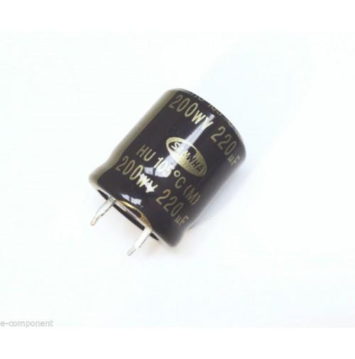 Condensatore Elettrolitico snap-in 220uF 200V 105°C Radiale 22x36mm SAMWHA