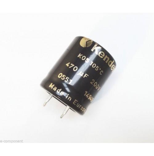 Condensatore Elettrolitico snap-in 470uF 200V 105°C Radiale 26x30mm KENDEIL