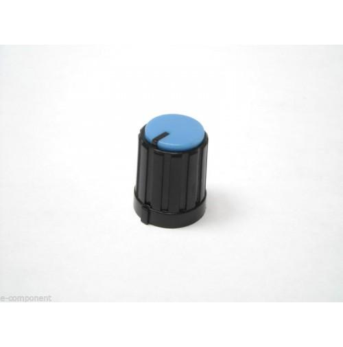 MANOPOLA PER POTENZIOMETRO ASSE 6mm a innesto zigrinato colore Azzurro MNA-2C