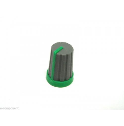 MANOPOLA PER POTENZIOMETRO ASSE 6mm innesto zigrinato colore verde/Grigio MNA-2E