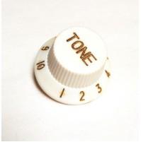 Manopola per potenziometro (TONE) CON SCALA 1---10 Tipo  FENDER Zigrinata BIANCO
