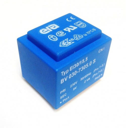 TRASFORMATORE DA CIRCUITO STAMPATO 2VA 0-230V 50/60Hz SEC. 9V 0.22A da circuito
