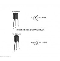 matched pair 2n3906 2n3904 case: TO92